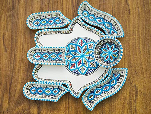 Dipping Plate Set (Large Turquoise Hamsa Hand of Fatima Dippers, 7 Pieces of Ceramic Dipping and Serving Plates Handmade, Hand-painted - Gifts, Wedding Gifts Birthday Celebration, Housewarming Gifts)
