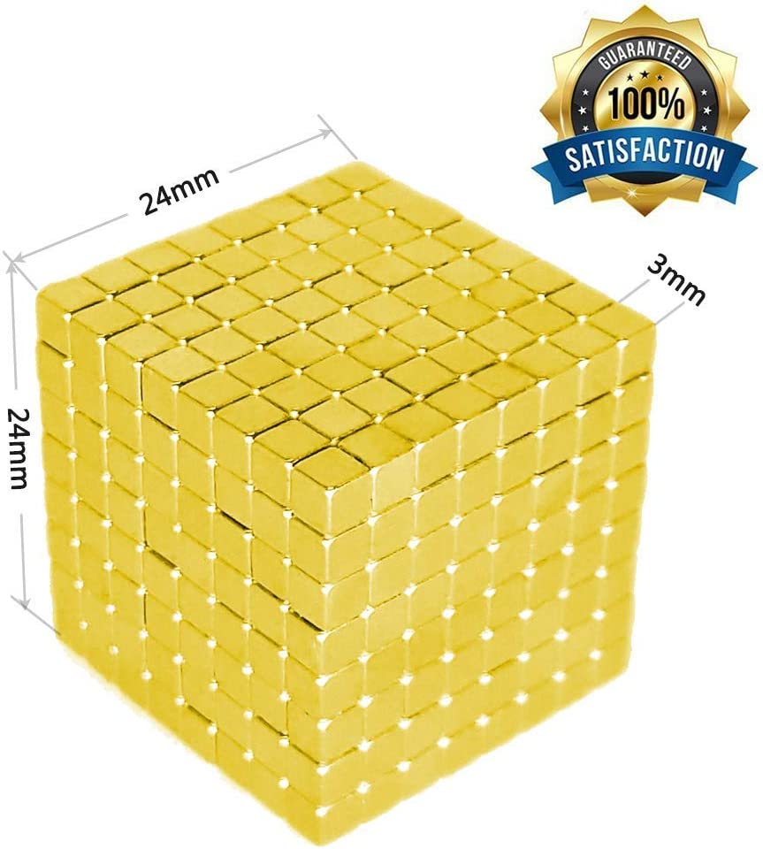 actoper Golden Magnetic Cube Magnets Blocks Multi-Use Square Cube Magnets Toy Stress Relief Toys for Kids 3mm 512