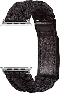 Apple Watch Paracord Band 40mm Replacement Band with Leather Adjustable Clasp for Apple Watch Series 5 4 3 2 1 - Black 38/40 mm M/L