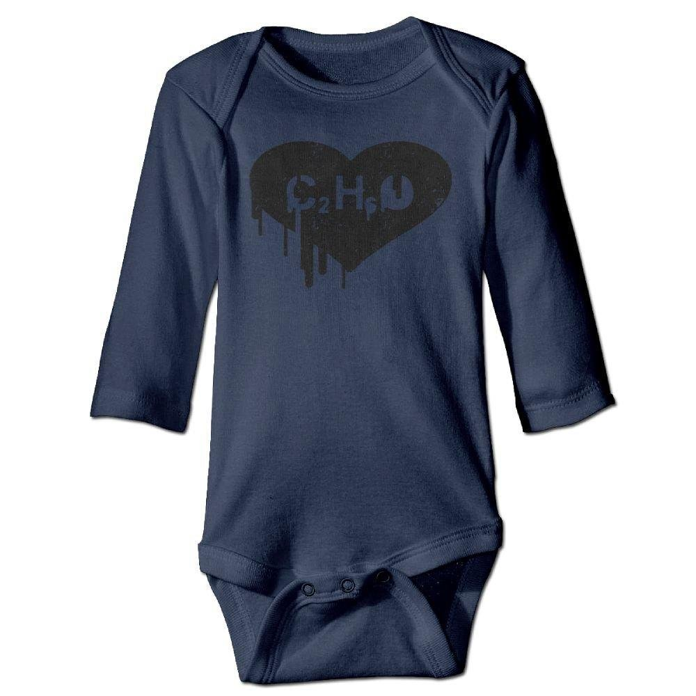 braeccesuit Infant C2H6O Heart Chemical Long Sleeve Romper Onesie Bodysuit Jumpsuit