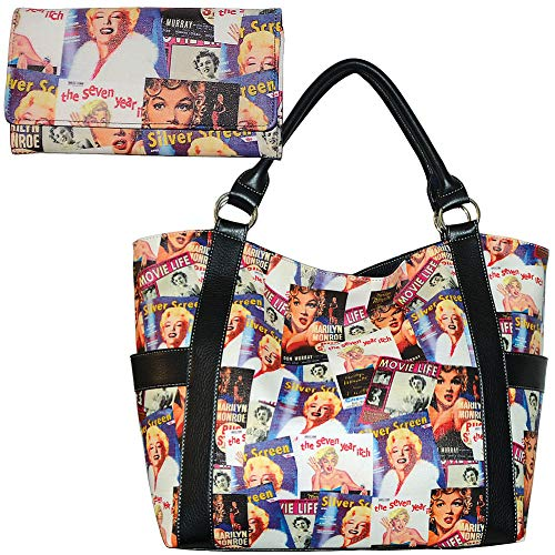 (Set) Marilyn Monroe Movie Poster Collage Vinyl Purse & 7.5