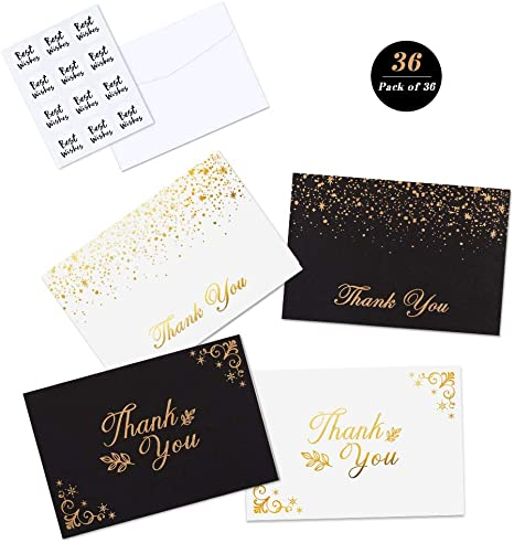 Amazon.com: 36 tarjetas de agradecimiento, tarjetas de notas ...