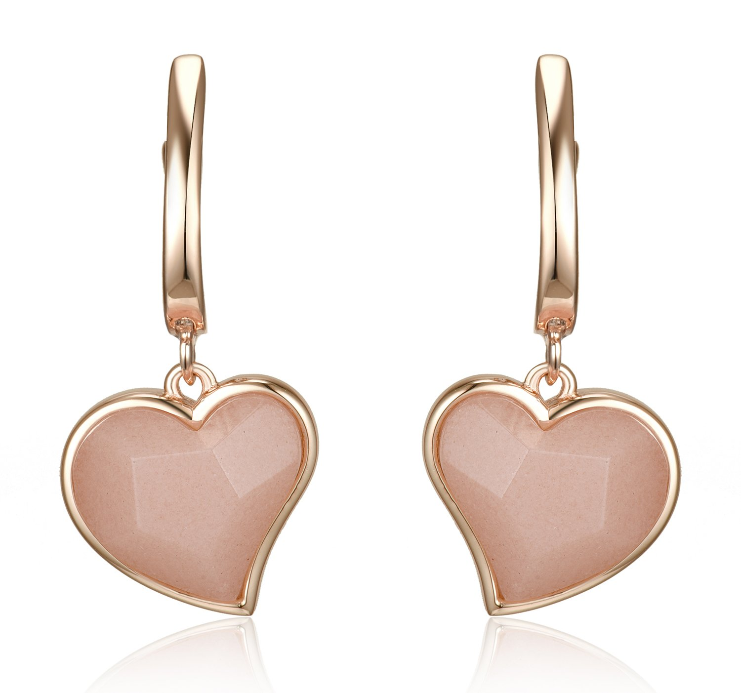 Lanfeny Rose Gold Plated 925 Sterling Silver Dangle Earrings with Natural Rose Quartz Heart Shape