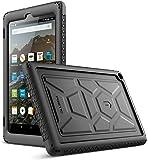 Amazon Fire HD 8 ケース Poetic [Turtle Skin シリーズ] ファイアーHD [衝撃吸収 バンパー] [音声拡大] [放熱構造] スタンド機能 アマゾンファアー HD8 対応 シリコン製保護ケース (ブラック)