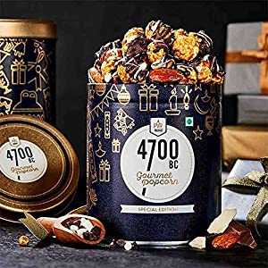4700BC Nutty Tuxedo Chocolate Popcorn, Tin, 125g + 4700BC Gourmet Popcorn, 5 Flavours Pack (3 Cheese, 2 Caramel), 475g