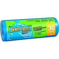 Saco para lixo Dover-Roll Resist, 30 litros, azul, rolo com 20 sacos