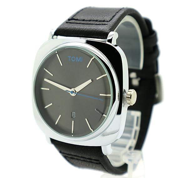 besttime Tomi moderno relojes tiempo/fecha plata/Gif color negro correa de piel Para
