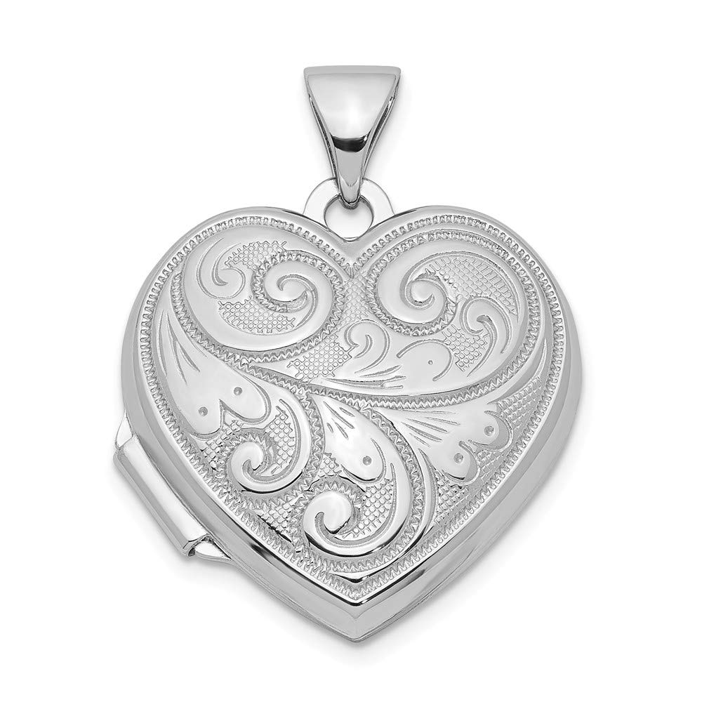 18mm x 24mm Sonia Jewels Sterling Silver Scrolled Front /& Back Heart Locket