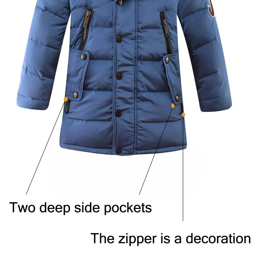LSERVER Kid Girl Long White Duck Puffer Down Jacket with Faux Fur Trim Hood Thick Warm Coat Windproof Casual Styish Winter Outerwear