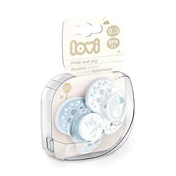 LOVI 2x Chupete Silicona para Bebés de 0-3 meses | Cubierta Higiénica | Efecto Calmante | Protege el Reflejo Natural de Succión de Bebé | Brilla en la ...