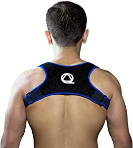 Qualid Posture Corrector- Invisible Under Clothes, Men and Women, Body Fitting, One Size Fits All, High Quality, Thin and Comfortable (Blue)