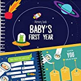 Astronaut Baby's First Year Memory Book | 12 Stickers Included | First year album with stickers and frames to add your pictures in a gorgeous way | Outer Space Edition |
