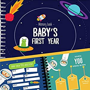 Astronaut Baby's First Year Memory Book – 12 Stickers Included – First Year Photo Album with Stickers and Frames to add Your Pictures in a Gorgeous Way – Outer Space Edition. Great Gift for New Moms
