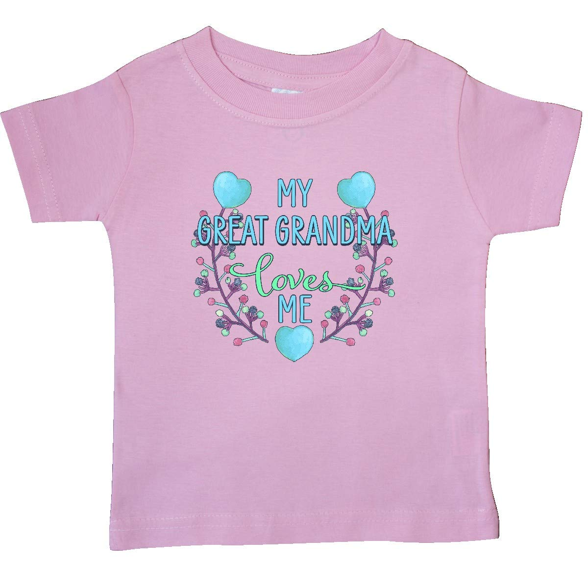 inktastic My Great Grandma Loves Me Painted Flowers and Hearts Baby T-Shirt