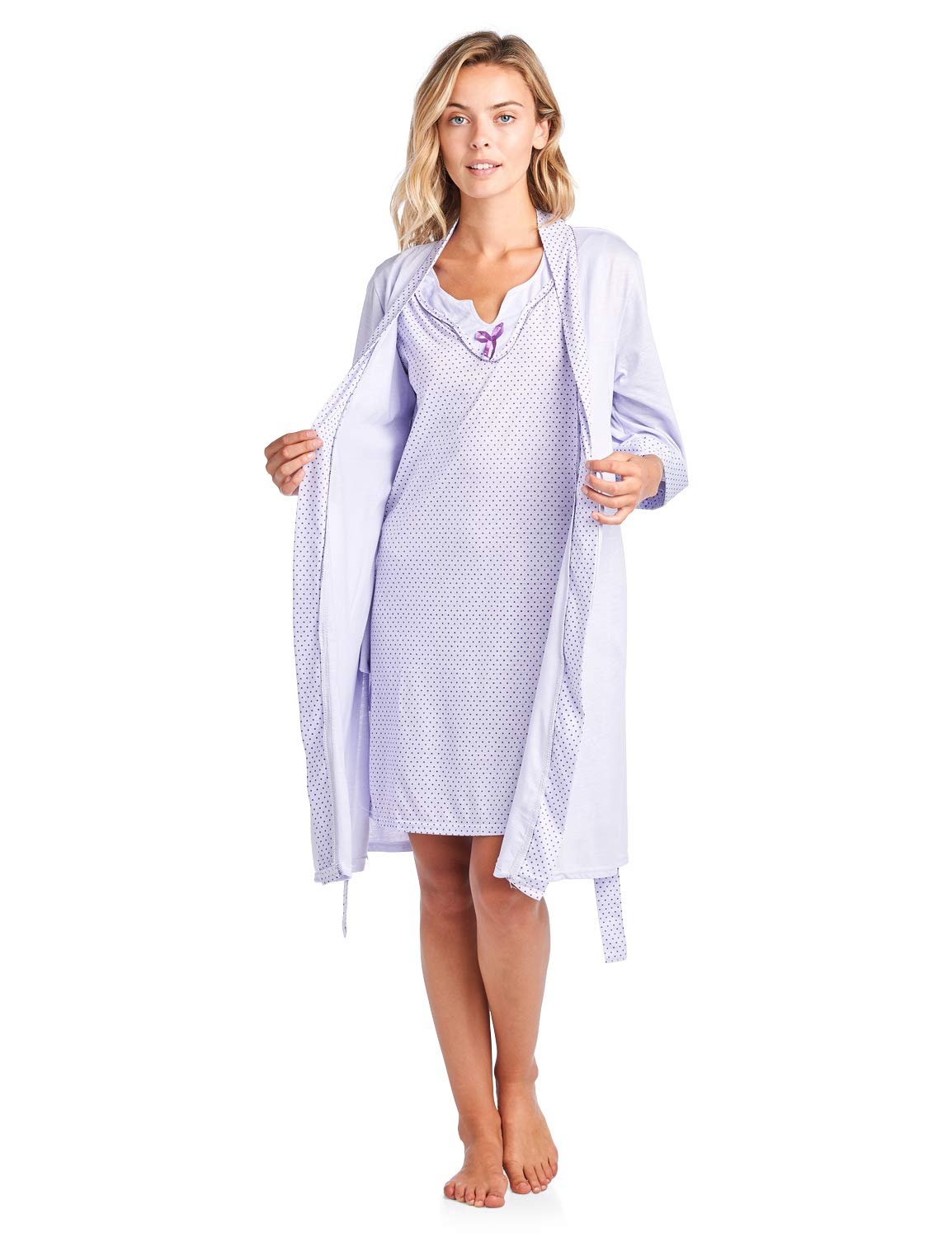 Casual Nights Women's Sleepwear 2 Piece Nightgown and Robe Set - Purple - XX-Large by Casual Nights