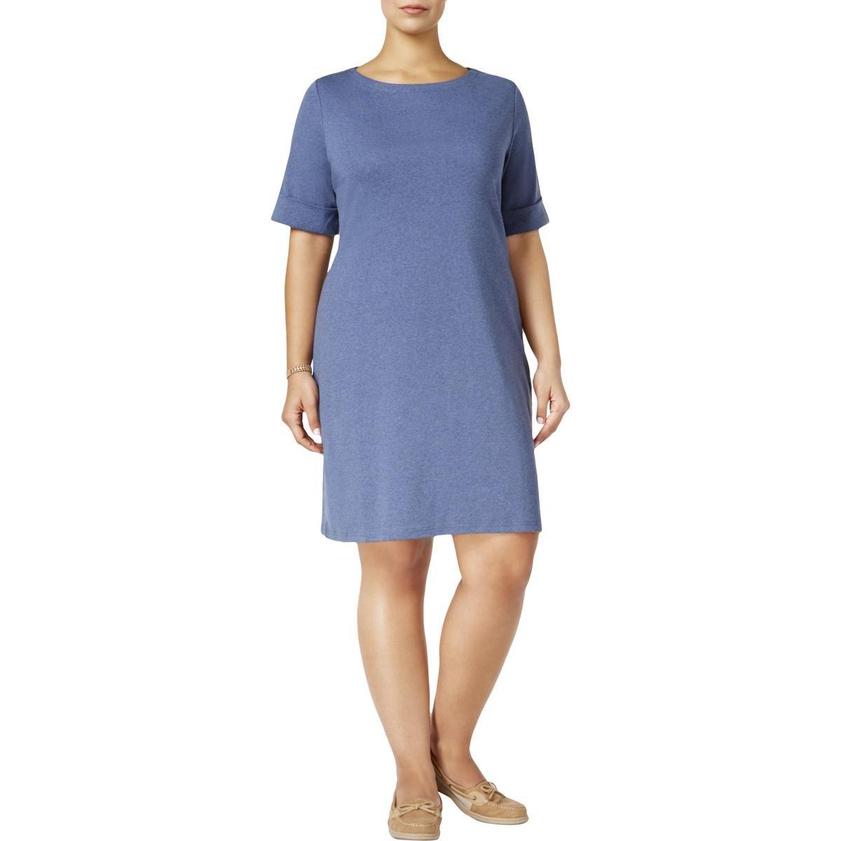 Karen Scott Womens Plus ElbowSleeves Pullover Casual Dress Blue 0X