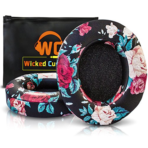 Upgraded Beats Replacement Ear Pads by Wicked Cushions - Compatible with Studio 2.0 Wired/Wireless and Studio 3 Over Ear Headphones by Dr. Dre ONLY (Does NOT FIT Solo) - (Black Floral) by WC