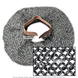 Medieval Gears Brand Chainmail aventail 18G Steel Round Riveted Leather Collar Neck Armor