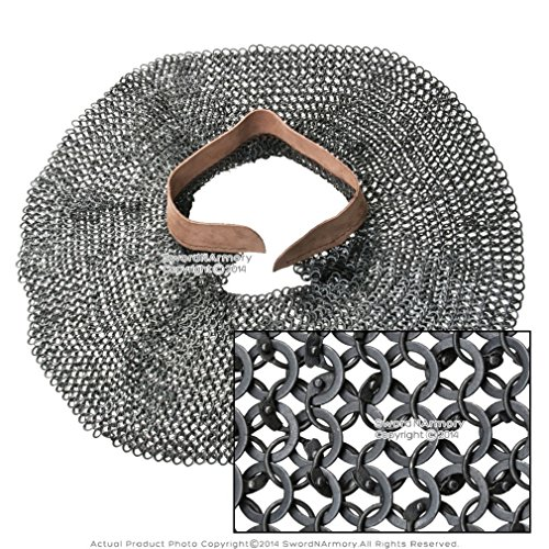 Medieval Gears Brand Chainmail aventail 18G Steel Round Riveted Leather Collar Neck Armor by Medieval Gears