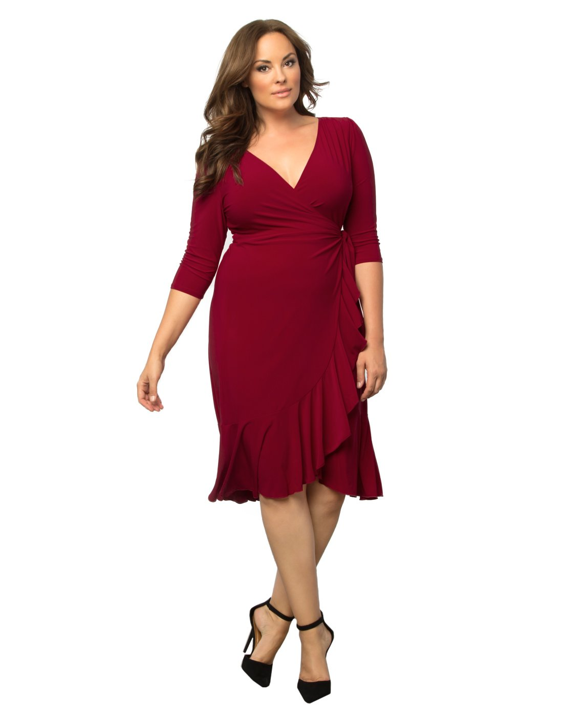 Kiyonna Women's Plus Size Whimsy Wrap Dress 3X Red-y For Love