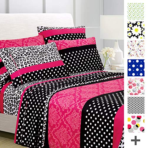 American Home Collection Deluxe 4 Piece Printed Sheet Set Brushed Fabric, Deep Pocket Wrinkle Resistant - Hypoallergenic (Twin, Multi Cheetah-Dot-Paisley) (Zebra Bedroom Set Twin)
