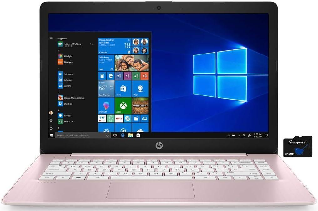 2021 HP Stream 14 inch HD Laptop PC, Intel Celeron N4000, 4GB RAM, 64GB eMMC, WiFi, Bluetooth, Webcam, HDMI, Windows 10 S with Office 365 Personal for 1 Year + Fairywren Card (Rose Pink)