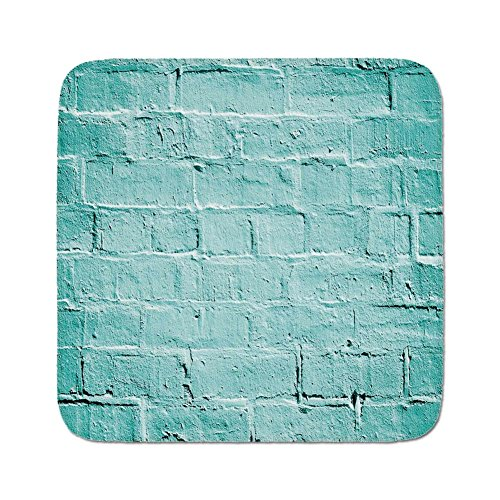 Pads Cushion Area Rug,Mint,Brick Old Wall Background in Vibrant Tones Architecture Urban Building Artsy Picture,Turquoise,Easy to Use on Any Surface ()