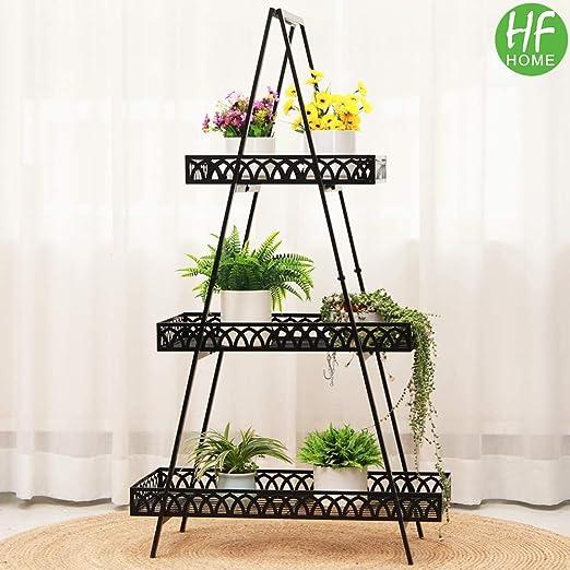HFHOME Estantería para plantas, metal, 3 niveles, escalera para plantas, decoración, estilo antiguo, estantería de metal,