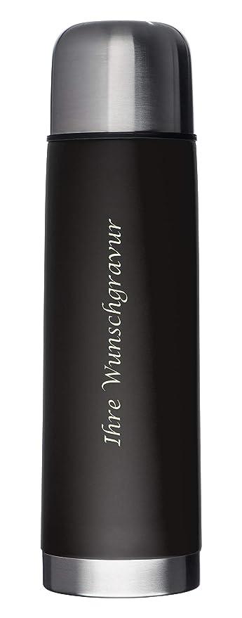 Edelstahl Thermoskanne 0,5 l Farbe schwarz inklusive Gravur