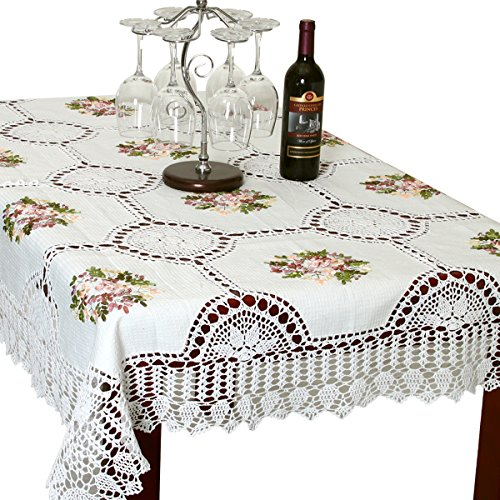 Simhomsen Simhomsen Handmade White Cotton Linen Tablecloth Ribbon Embroidered Crochet Rectangle 52 × 70 Inch price tips cheap