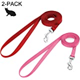 rabbitgoo Small Pet Leash, Cat Walking Long Nylon Dog Leashes, Easy Control Lightweight Durable Kitten Puppy Leash with 360 Degree Swivel Clip, Training Leashes for Small Medium Cat,150cm(59 inches), 2 Pack (Red & Pink)