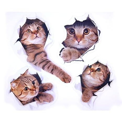 Paizizi Pegatinas Pared Gatos Calcomanías Pared 3D Desmontable para Coche Ventana Inodoro Cuarto de Baño Dormitorio