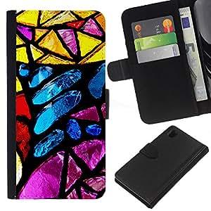 KLONGSHOP // Tirón de la caja Cartera de cuero con ranuras para tarjetas - Vitral azul amarillo Sun colorido - Sony Xperia Z1 L39 //