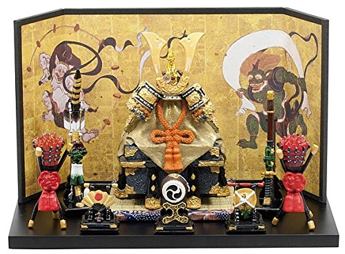 【ミニ五月人形】5246 櫃付兜中緋平飾り(毛バタキ付) B01BZUPL34