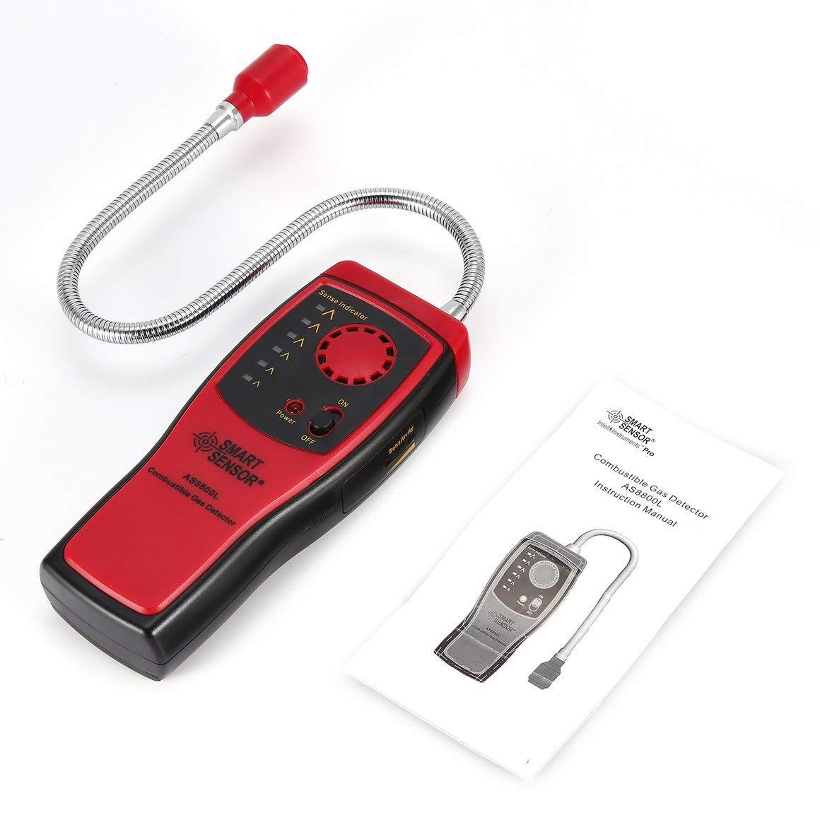Funnyrunstore Smart Sensor AS8800L Detector de Gases de combustión Inflamador de Fugas de Gas Natural Herramienta Analizador de detectores de Fugas de Gas ...