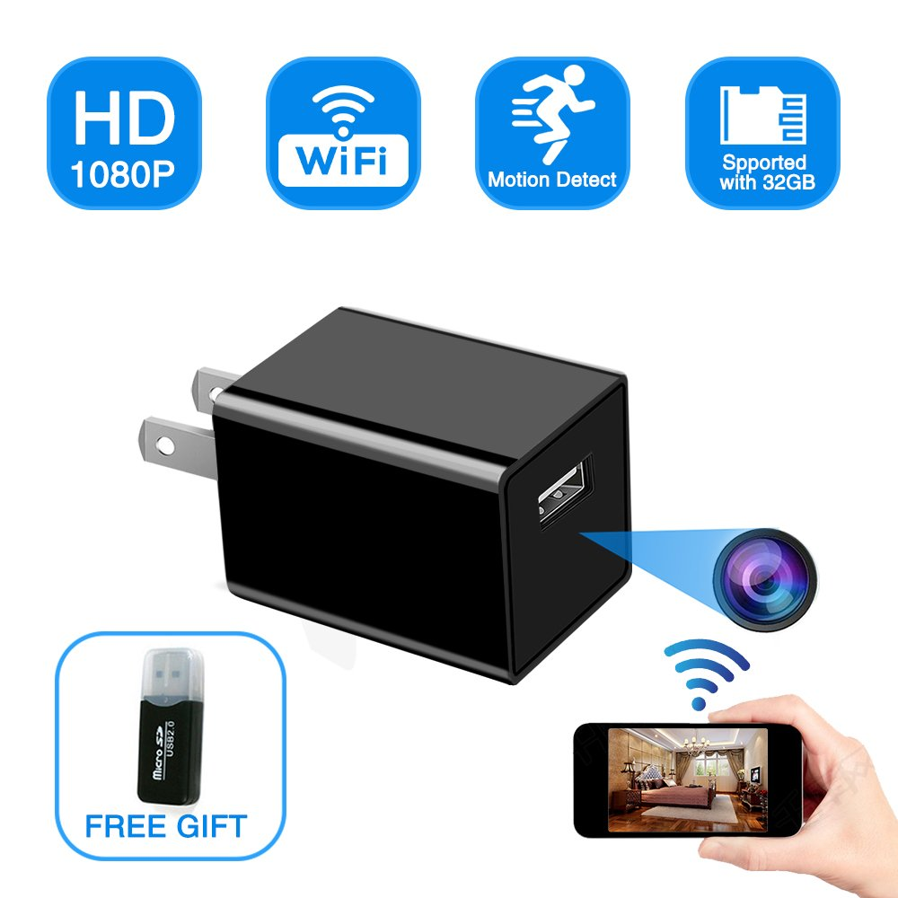 Hidden Spy Camera USB Charger, WiFi Spy Camera Wireless Mini Cam 1080P HD Monitoring Wifi Surveillance for Home Office Security Camera Monitoring with Motion Detection -Nanny Cam