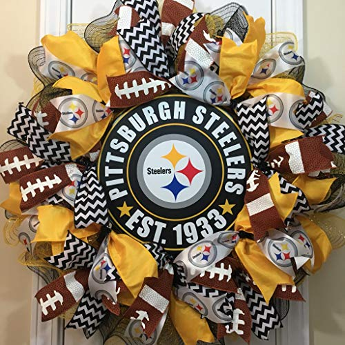 Wreath Nfl (Sports Wreath Shop, Pittsburgh Steelers, NFL Sports Wreath, 28