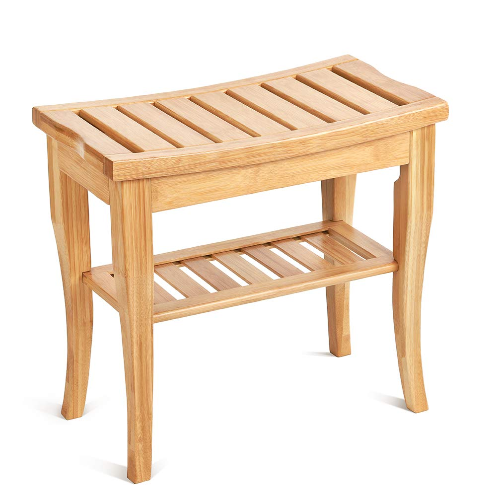 Bamboo Shower Bench with Storage Shelf, Waterproof Spa Bath Seat Bench Stool, Bath & Shower Transfer Benches Zonejoy