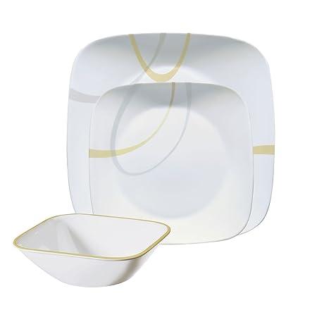 Corelle Square Modern Lines 12-Piece Dinnerware Set, Service for 4