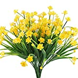 artificial flowers for outdoors - HOGADO Artificial Fake Flowers, 4pcs Faux Yellow Daffodils Greenery Shrubs Plants Plastic Bushes Indoor Outside Hanging Planter Wedding Cemetery Decor