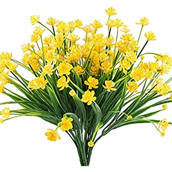 Amazon hogado artificial fake flowers 4pcs faux yellow hogado artificial fake flowers 4pcs faux yellow daffodils greenery shrubs plants plastic bushes indoor outside mightylinksfo