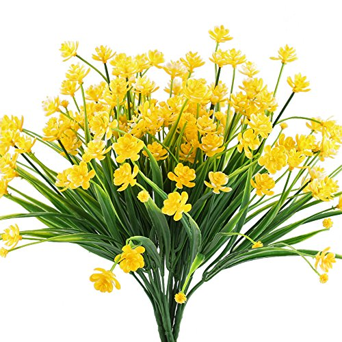 - HOGADO Artificial Fake Flowers, 4pcs Faux Yellow Daffodils Greenery Shrubs Plants Plastic Bushes Indoor Outside Hanging Planter Wedding Cemetery Decor