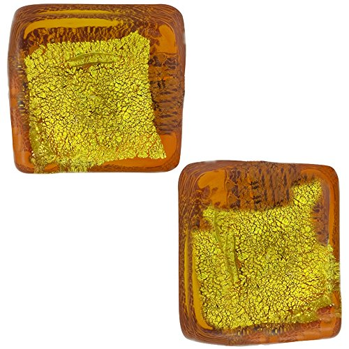 (Autumn Gold and Green Abstract Cube 10mm Silver Foil, Murano Glass Bead, 2 Pieces)