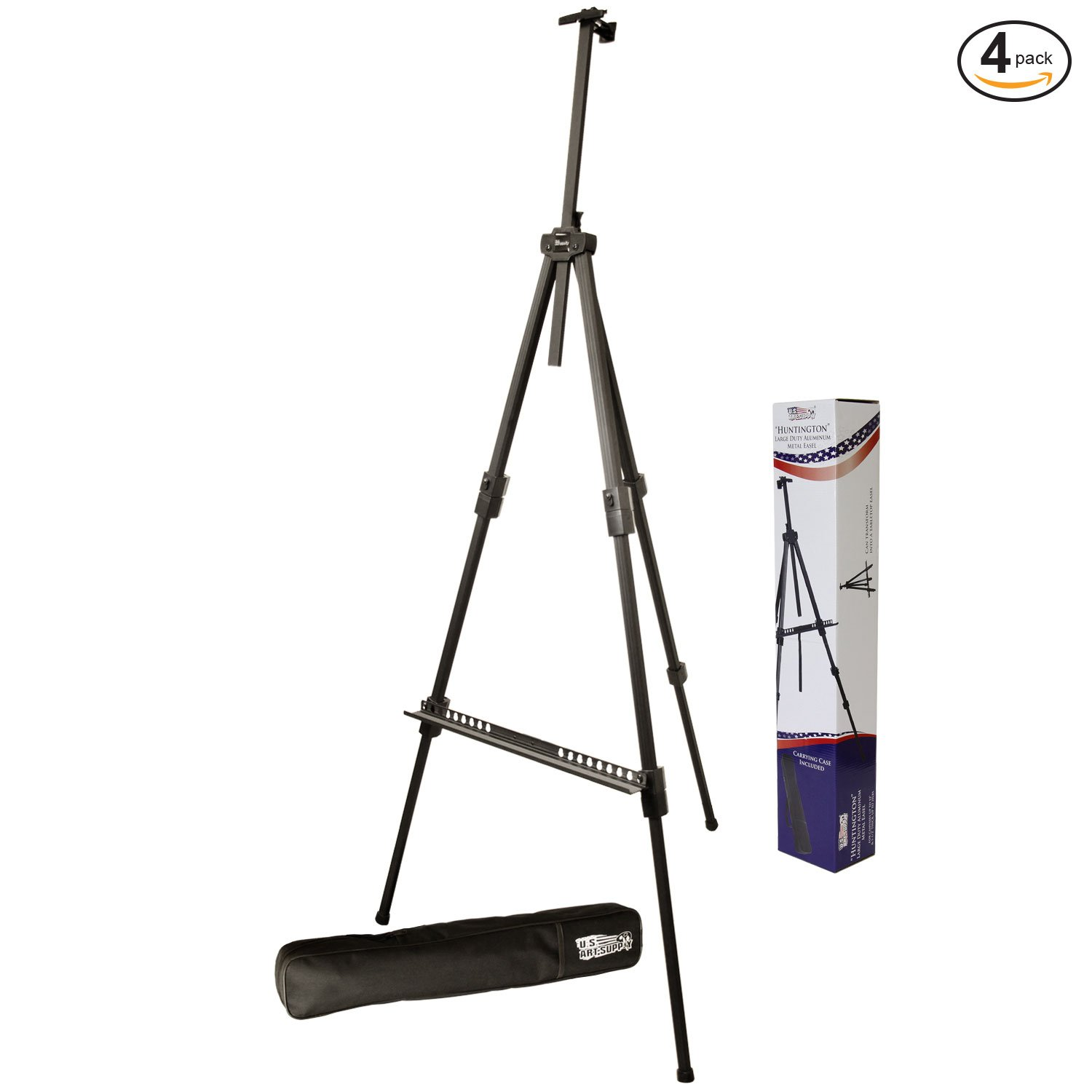 US Art Supply Huntington (Large) 72 Inches Tall Aluminum Tripod Field and Display Easel-Extra Sturdy Premium Metal Construction with Carry Bag (4-Easels)