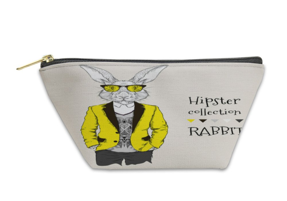 Gear New Accessory Zipper Pouch, Illustration Of Rabbit Hipster Dressed Up In Jacket Pants And Sweater, Large, 6037927GN by Gear New