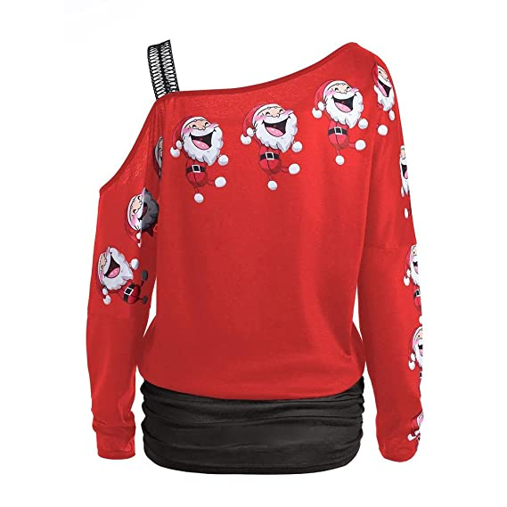 Amazon.com: Gift Ideas! Teresamoon Womens Christmas Print Tops Long Sleeve Off Shoulder Long Blouse Shirt Tops RD/L: Home Audio & Theater