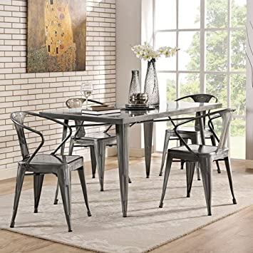 modway alacrity dining table gun metal - Metal Kitchen Table