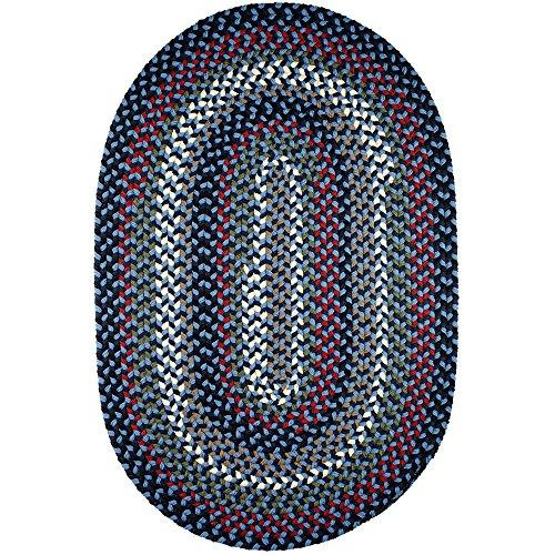Super Area Rugs Santa Maria Braided Rug Indoor Outdoor Rug Washable Reversible Blue Patio Deck Carpet, 5' X 8' Oval - Blue Reversible Braided Rug
