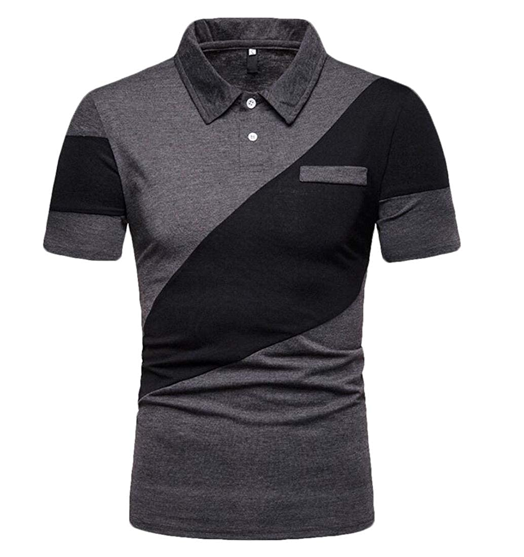 Generic Mens Fashion Short Sleeve Color Stitching Custom Fit Lapel Polo Shirt