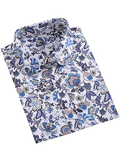 SPAREE Women's Tops Casual Blouses Long Sleeve Work Button Up Dress Shirts,Butterfly Flower Blue White,M